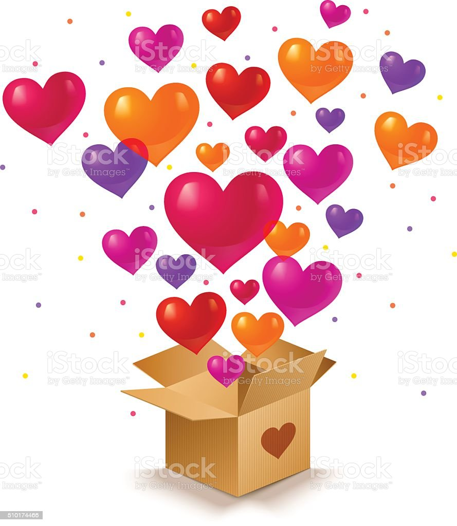 Box and hearts vector art illustration