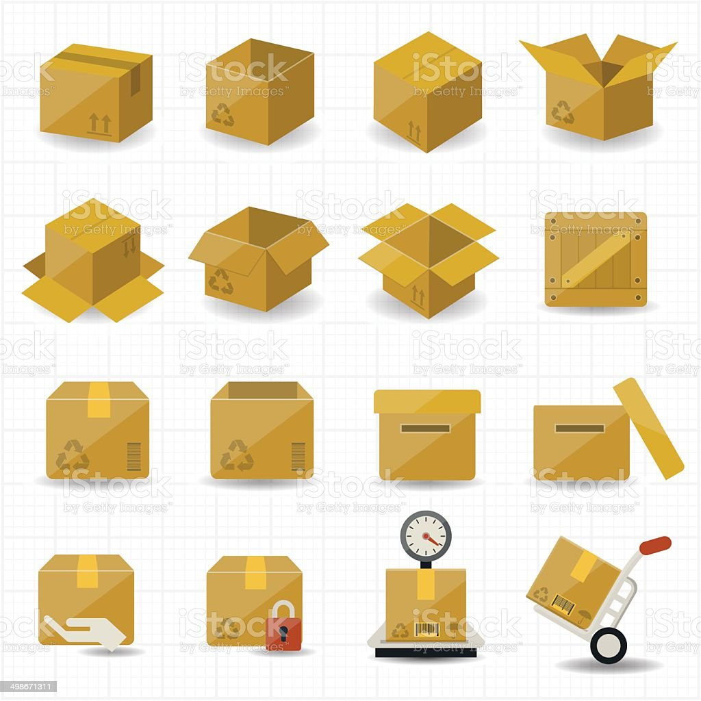 Box and Package Icon vector art illustration