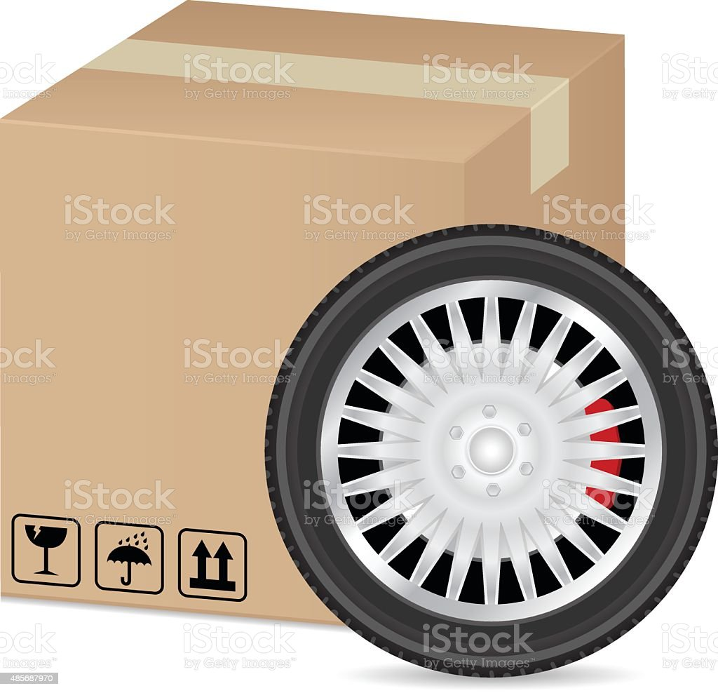 box and wheel vector art illustration