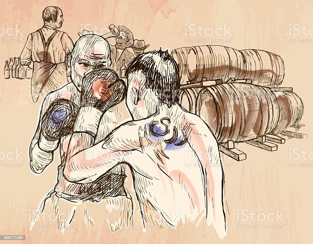 Box. Boxing match - An hand drawn vector. Line art. vector art illustration