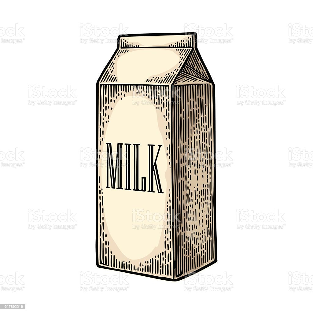 Box carton package with text milk. vector art illustration