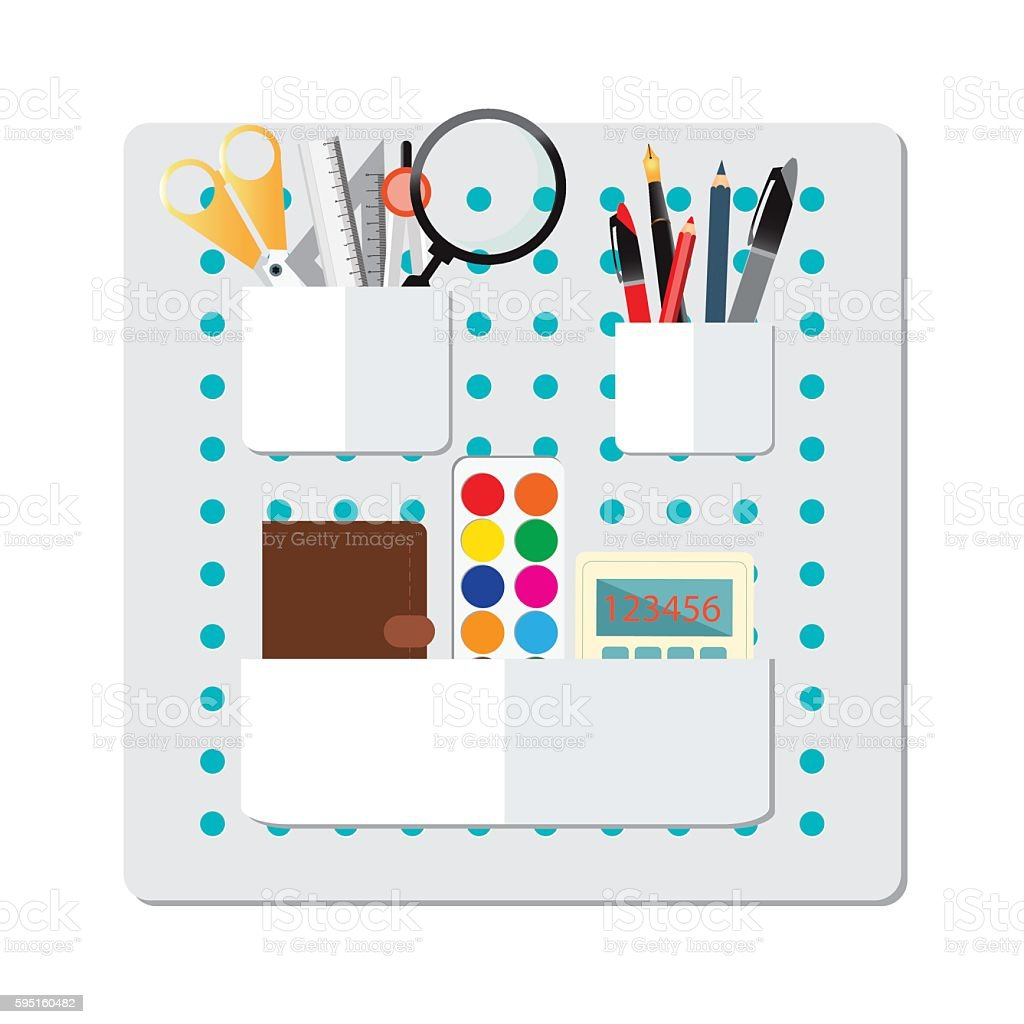 Box Full of office supply. vector art illustration
