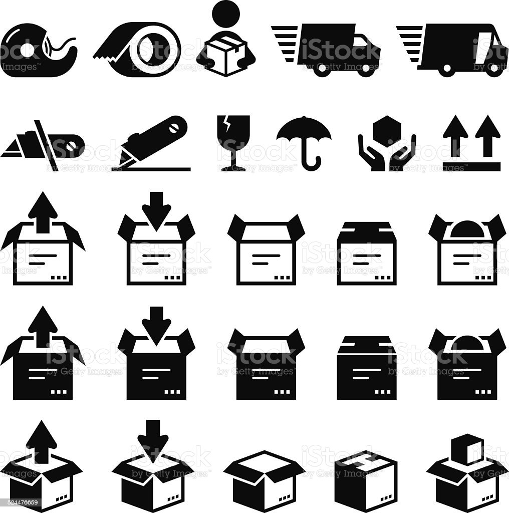 Box Icons - Black Series vector art illustration