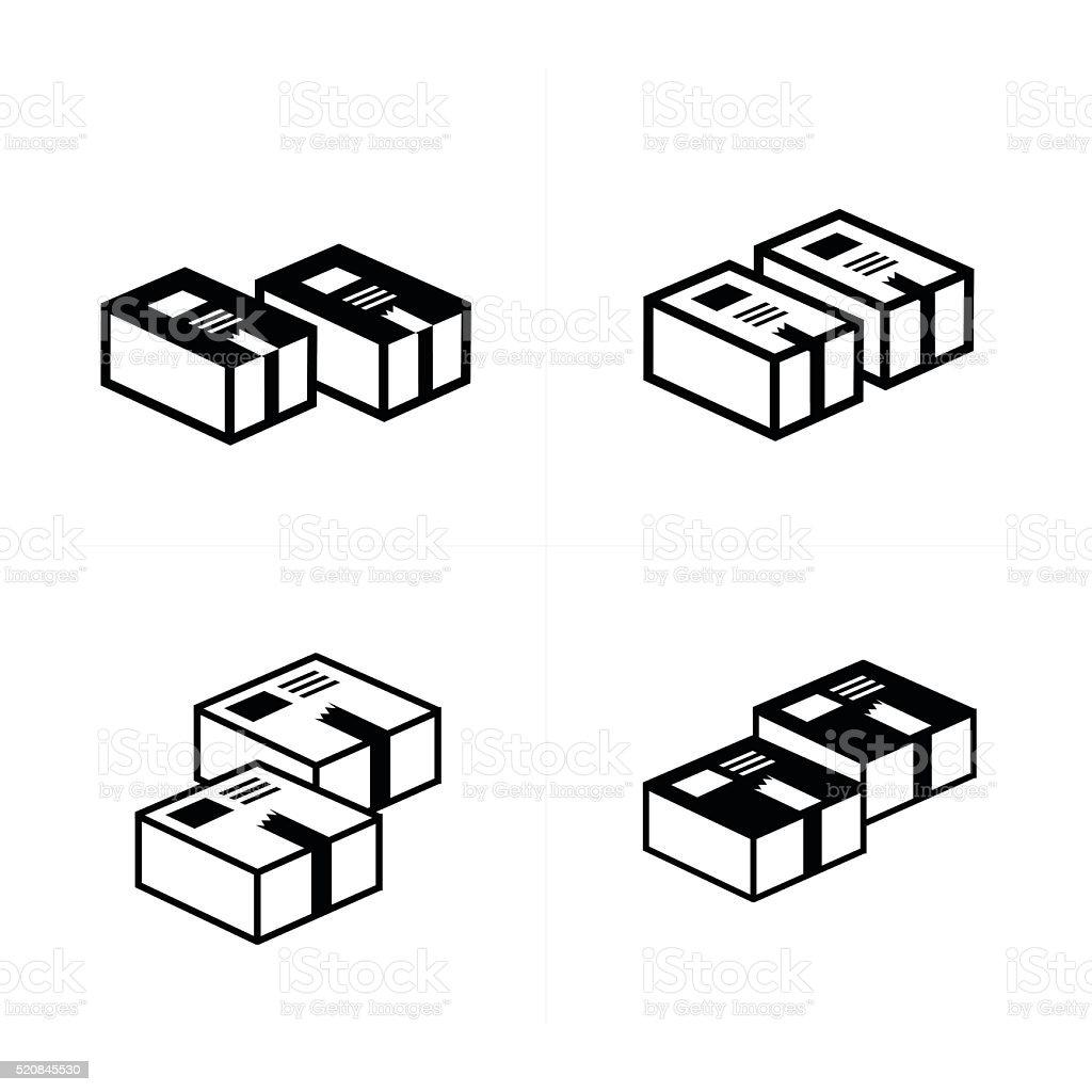 box icons set 4 design vector art illustration