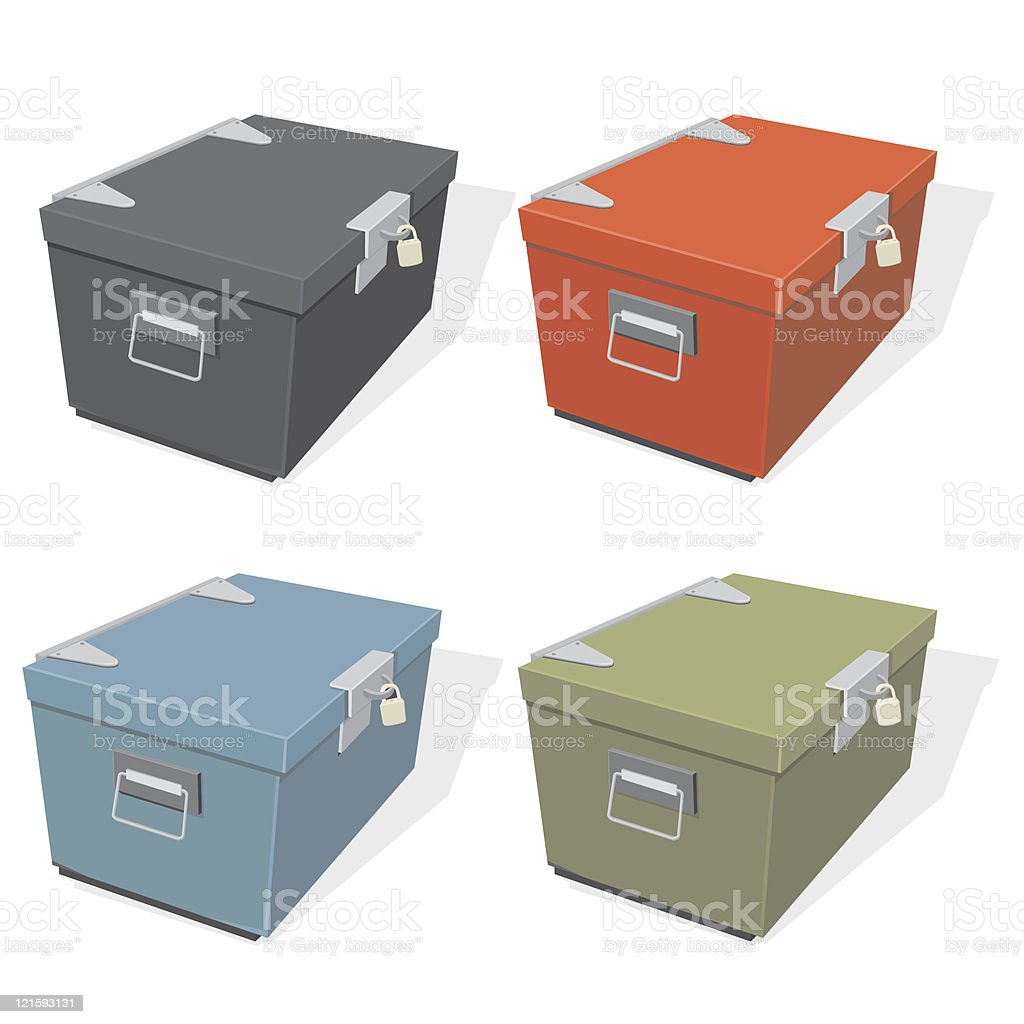 Box Locker with Padlock royalty-free stock vector art
