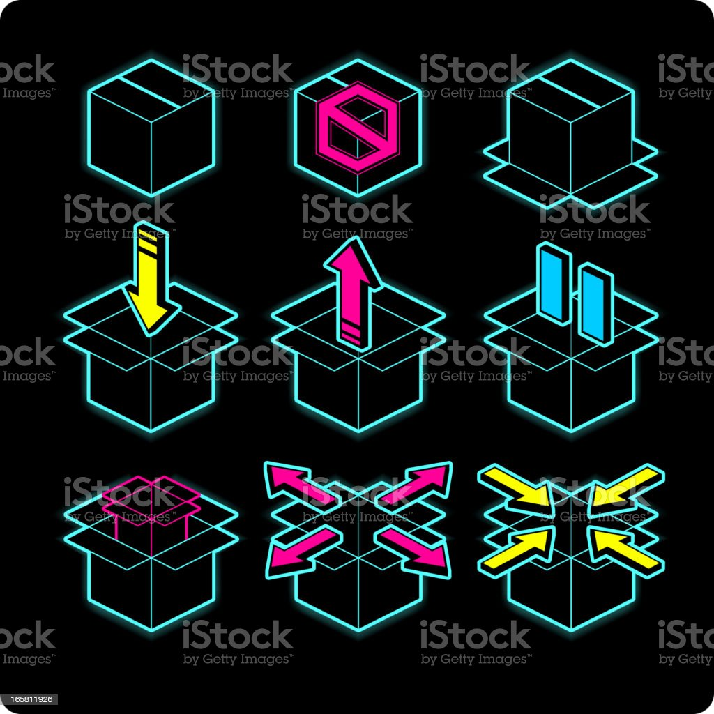 Box neon light icons direction arrow up down left right royalty-free stock vector art