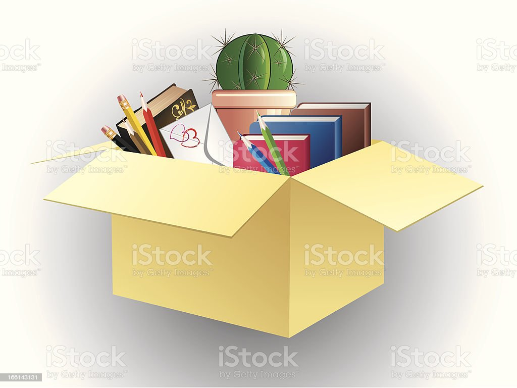 Box of books, pencils and cactus. royalty-free stock vector art