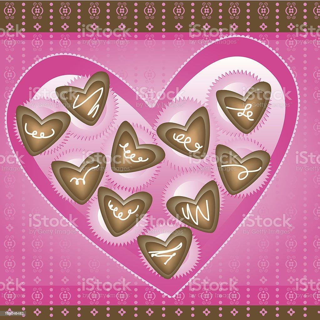 Box of Chocolate Hearts vector art illustration