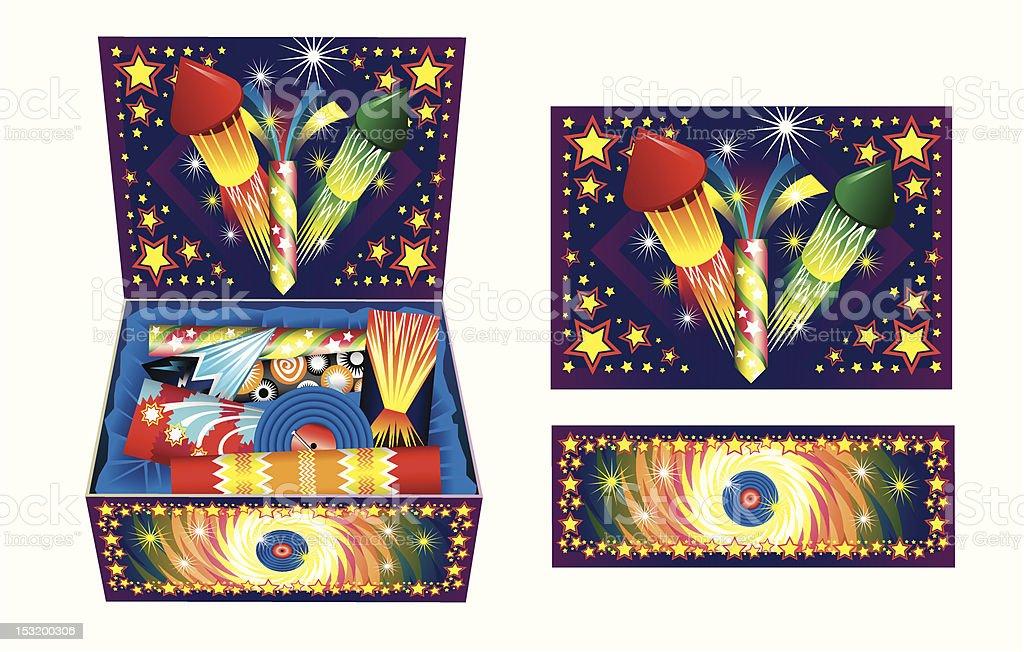 Box of Fireworks vector art illustration