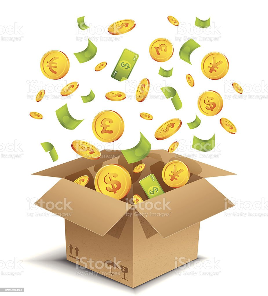 Box of money vector art illustration