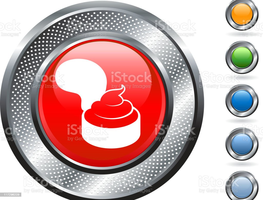 box of pudding icon on button with metallic border vector art illustration