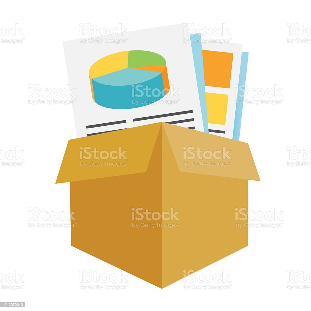 Box of Reports and Collateral vector art illustration