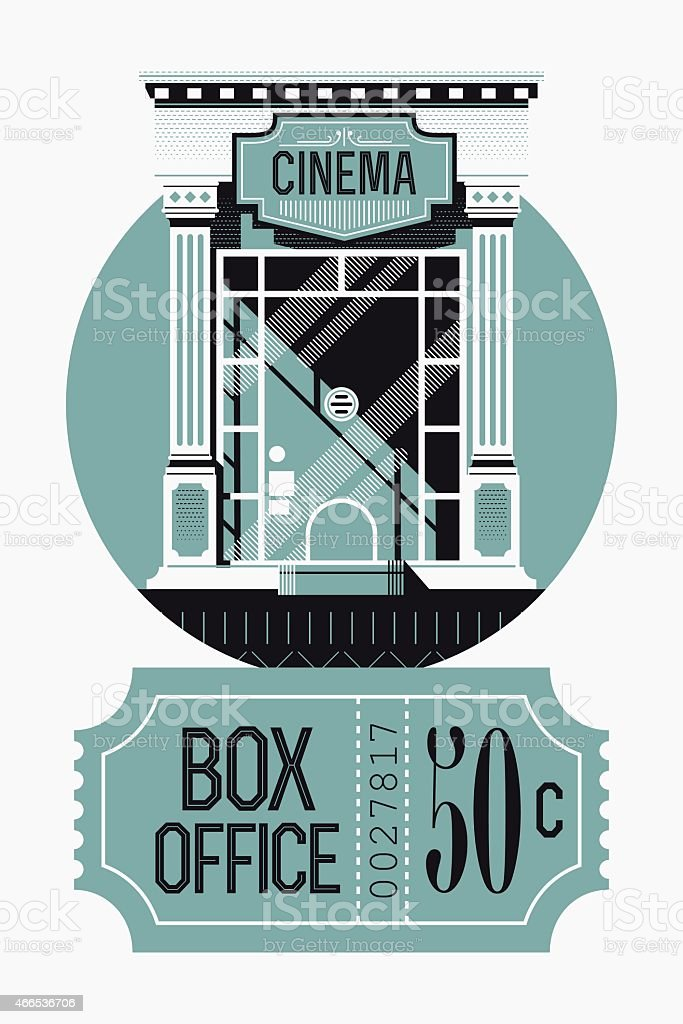 Box office concept design with movie theater tickets booth vector art illustration