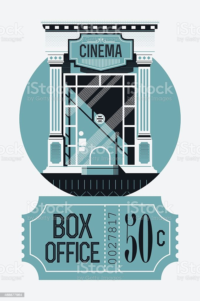Box office visual with ticket counter and ticket vector art illustration