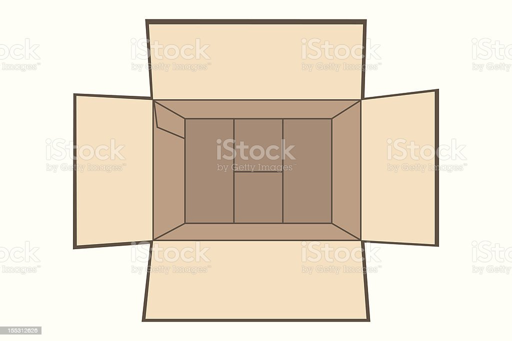 Box opened top view vector art illustration