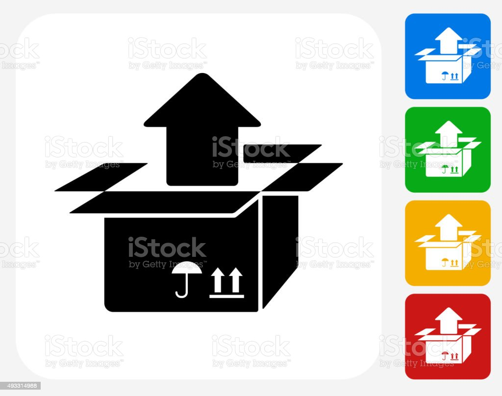 Box Output Icon Flat Graphic Design vector art illustration