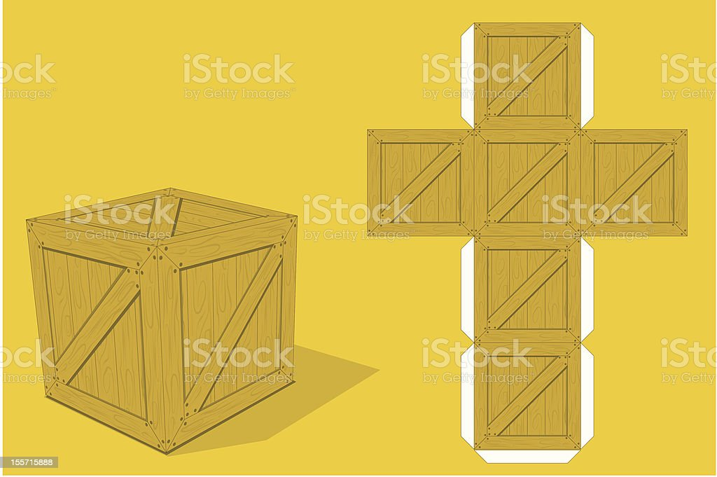 Box paper model royalty-free stock vector art