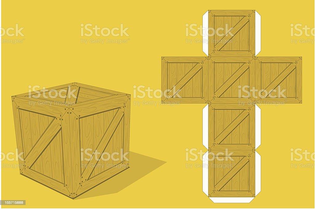 Box paper model vector art illustration