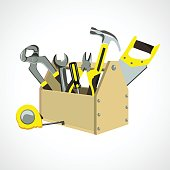 box with construction tools