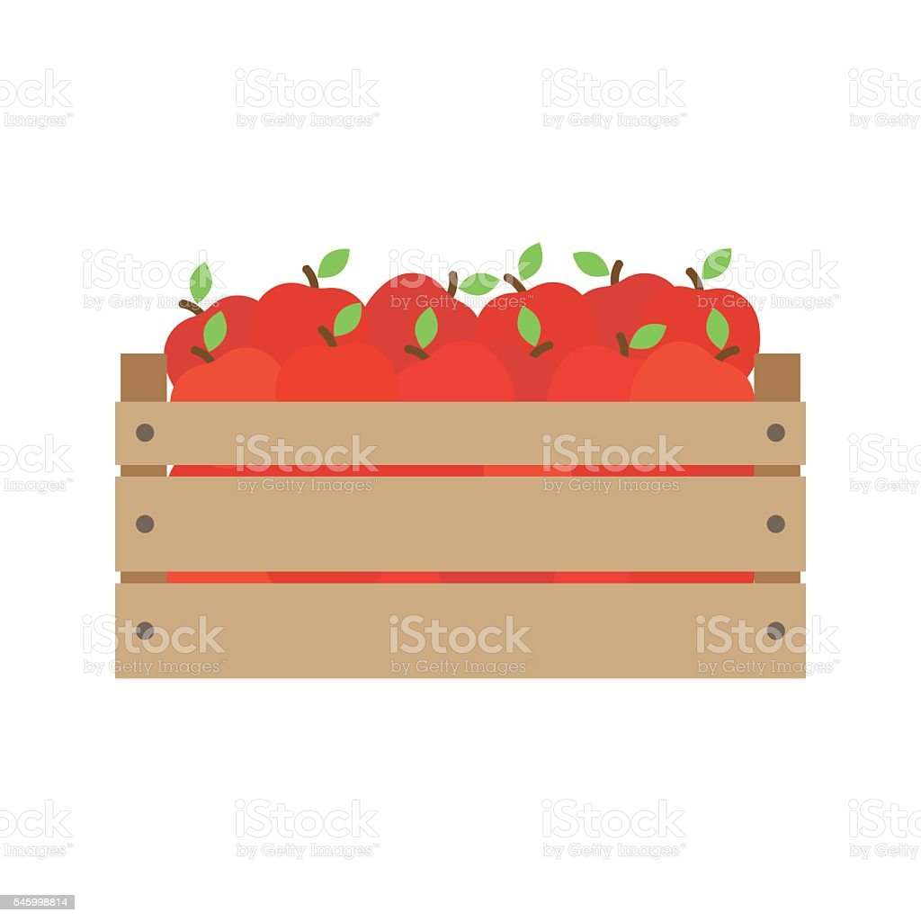 box with fresh red apples. vector art illustration