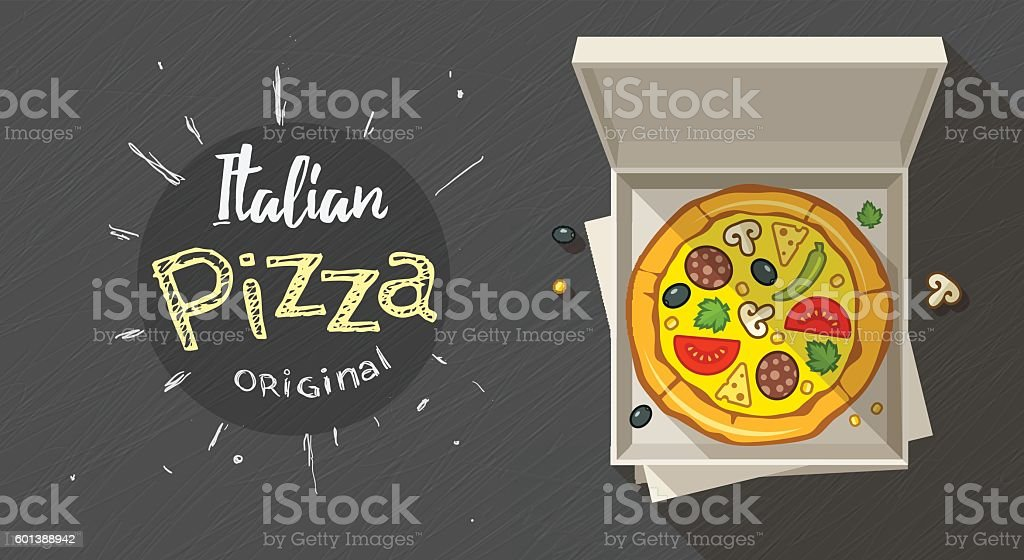 Box with italian pizza vector art illustration