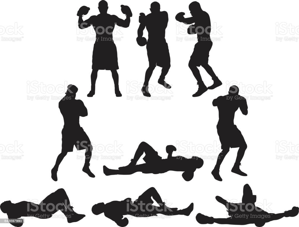 Boxer in various actions vector art illustration