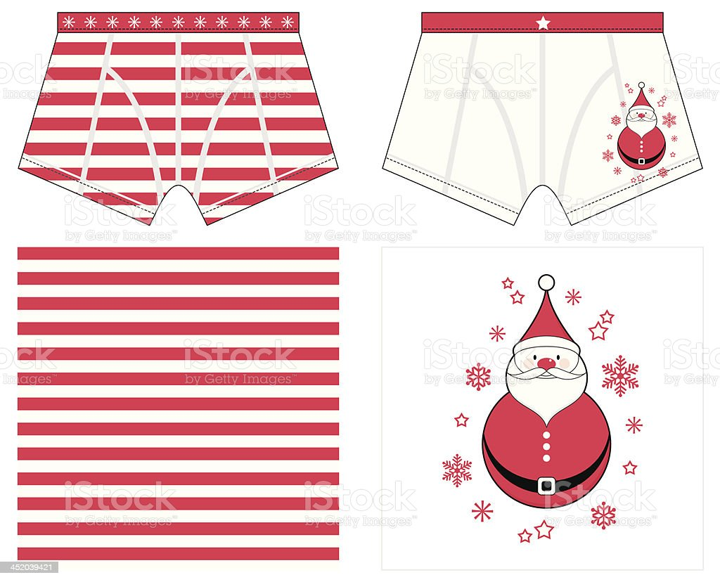 Boxer Shorts with Christmas Style Stripe and Snowman Placement royalty-free stock vector art