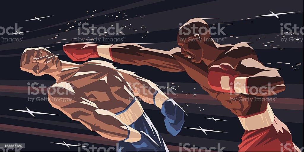 Boxers Knock-down vector art illustration
