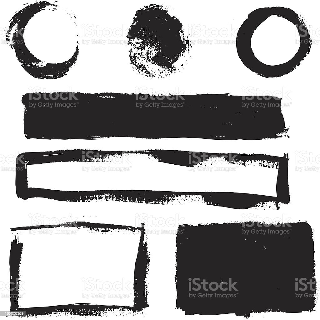 boxes and circles made with brush royalty-free stock vector art