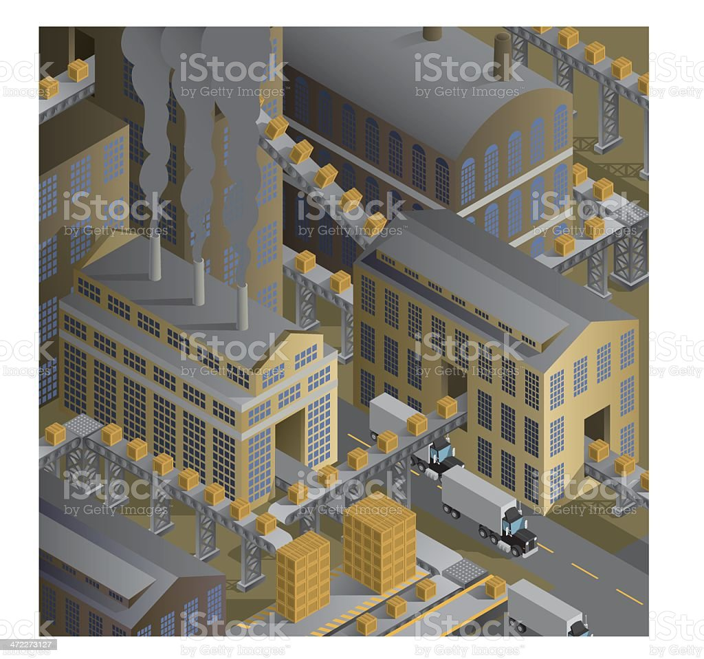 Boxes and Conveyor Belts royalty-free stock vector art