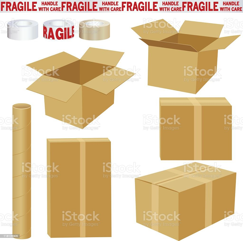 Boxes and Packing Materials royalty-free stock vector art