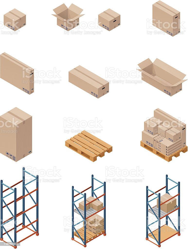 Boxes and shelving royalty-free stock vector art
