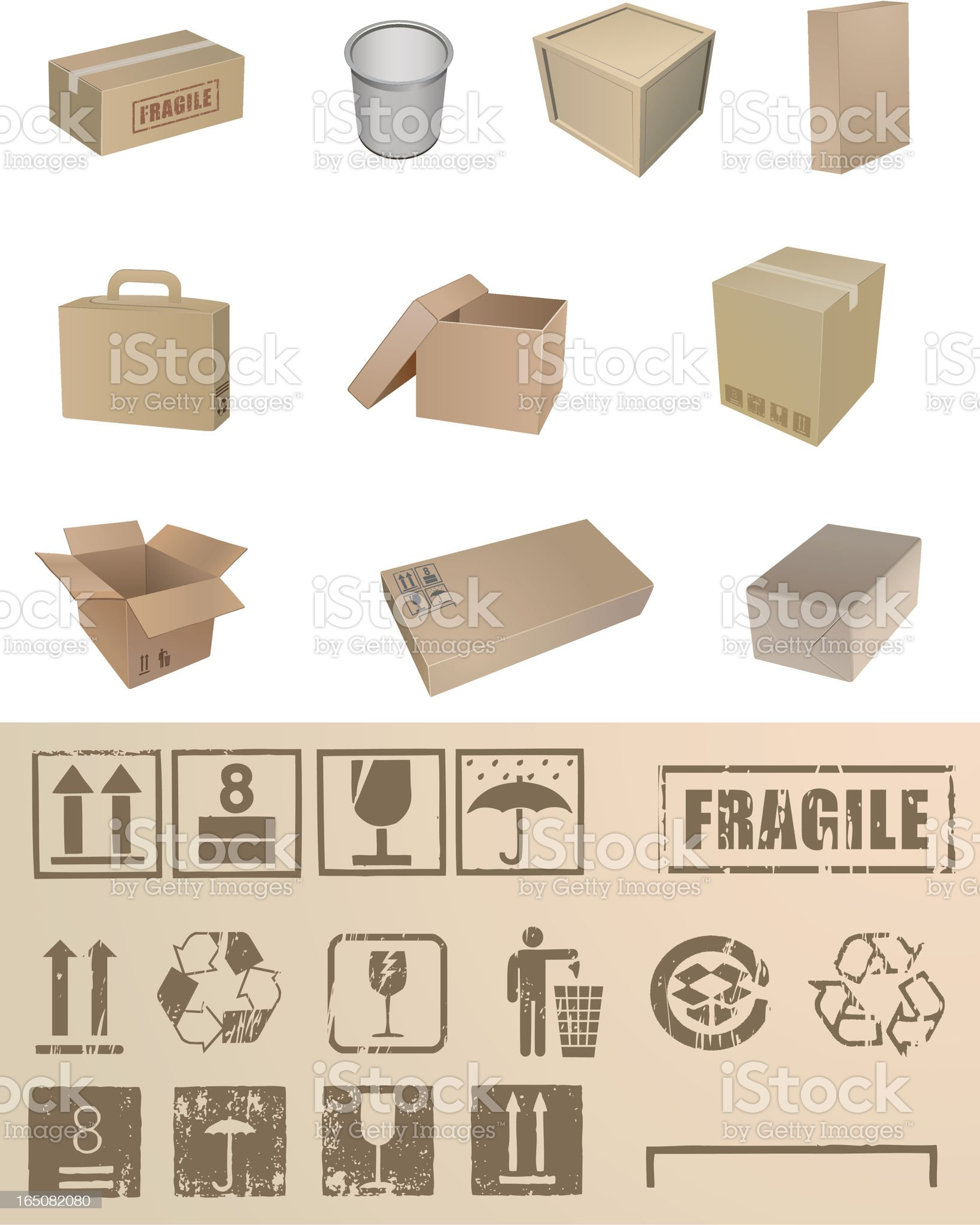 Boxes and sign colltction royalty-free stock vector art