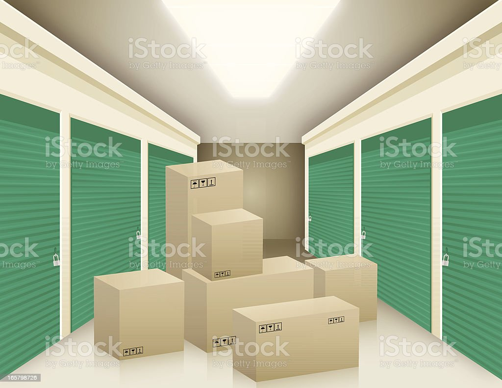 Boxes In Storage vector art illustration