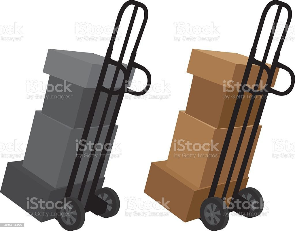 Boxes on Dolly Silhouette vector art illustration