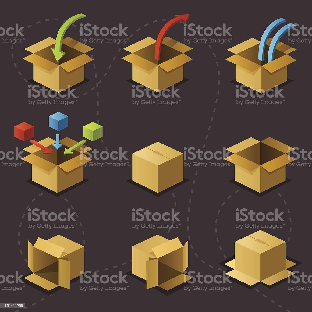 Boxes on Grey royalty-free stock vector art