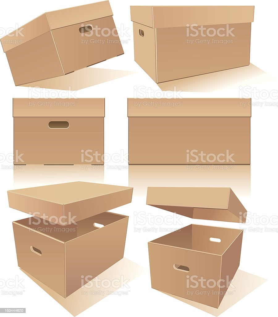 Boxes with handles and lids vector art illustration