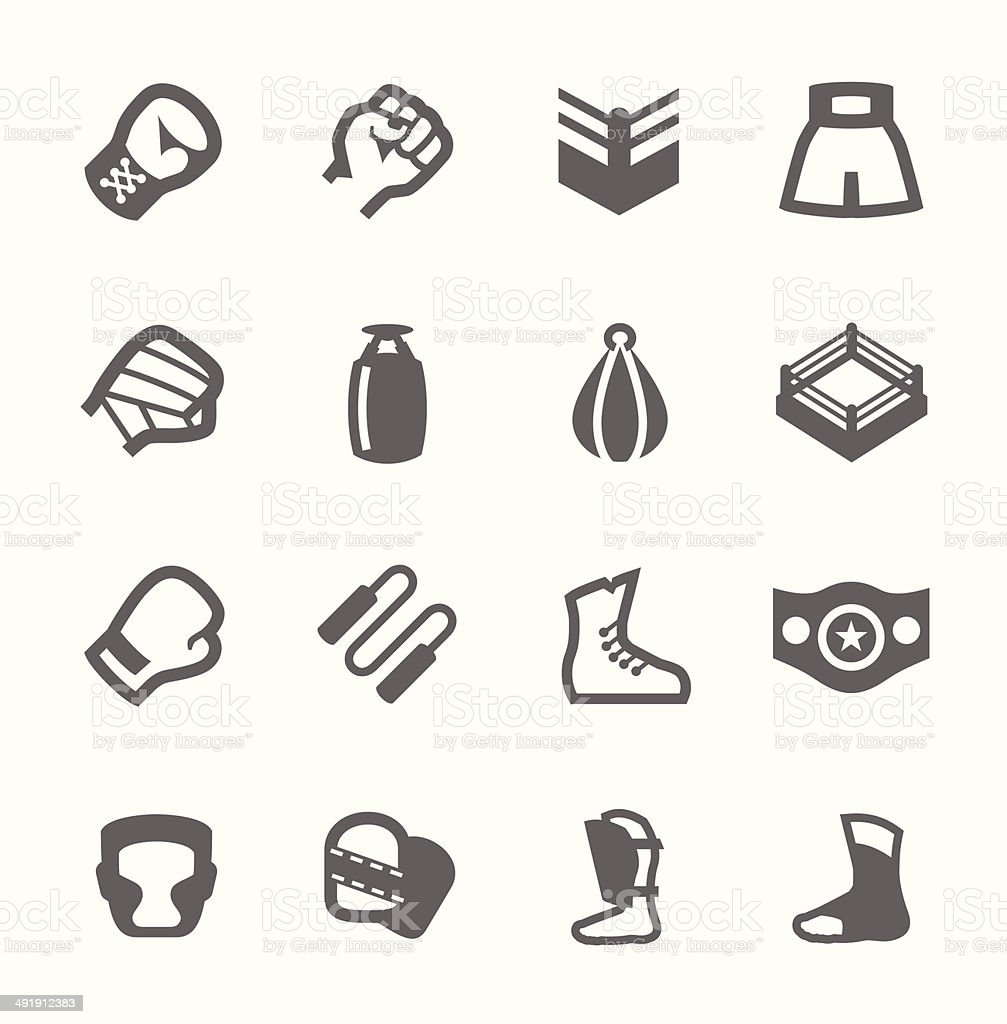 Boxing and fighting Icons vector art illustration