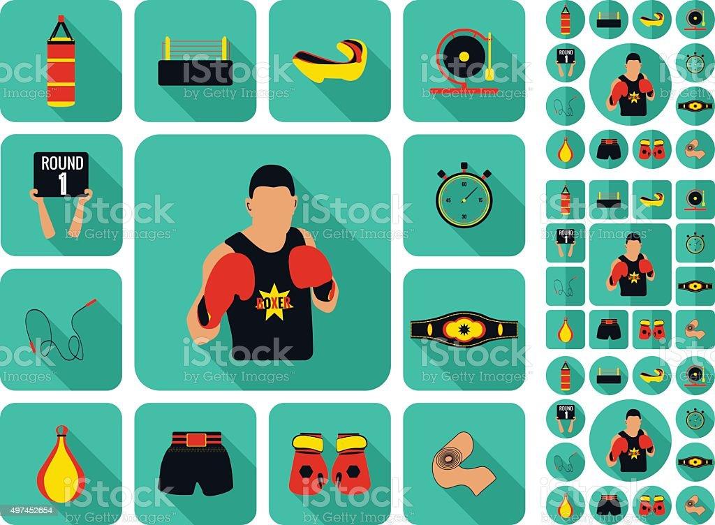 Boxing and martial arts logo badges, labels and design elements. vector art illustration