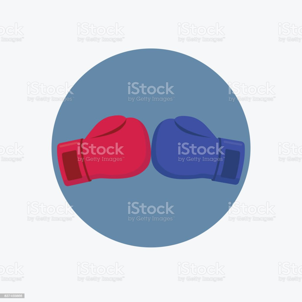 Boxing Battle Illustration. Red And Blue Boxing Gloves vector art illustration