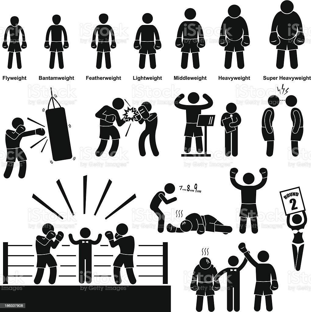 Boxing Boxer Stick Figure Pictogram Icon vector art illustration