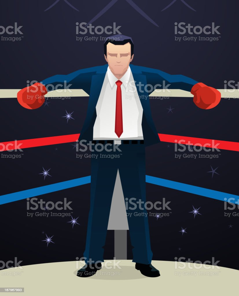 Boxing Businessman with box gloves royalty-free stock vector art