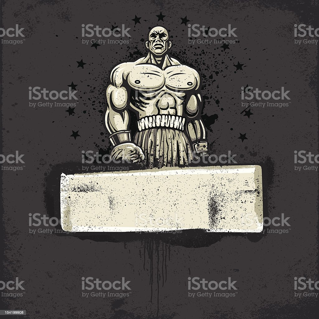 Boxing Champion - Standing Pose: Graffiti Grunge Banner Version royalty-free stock vector art