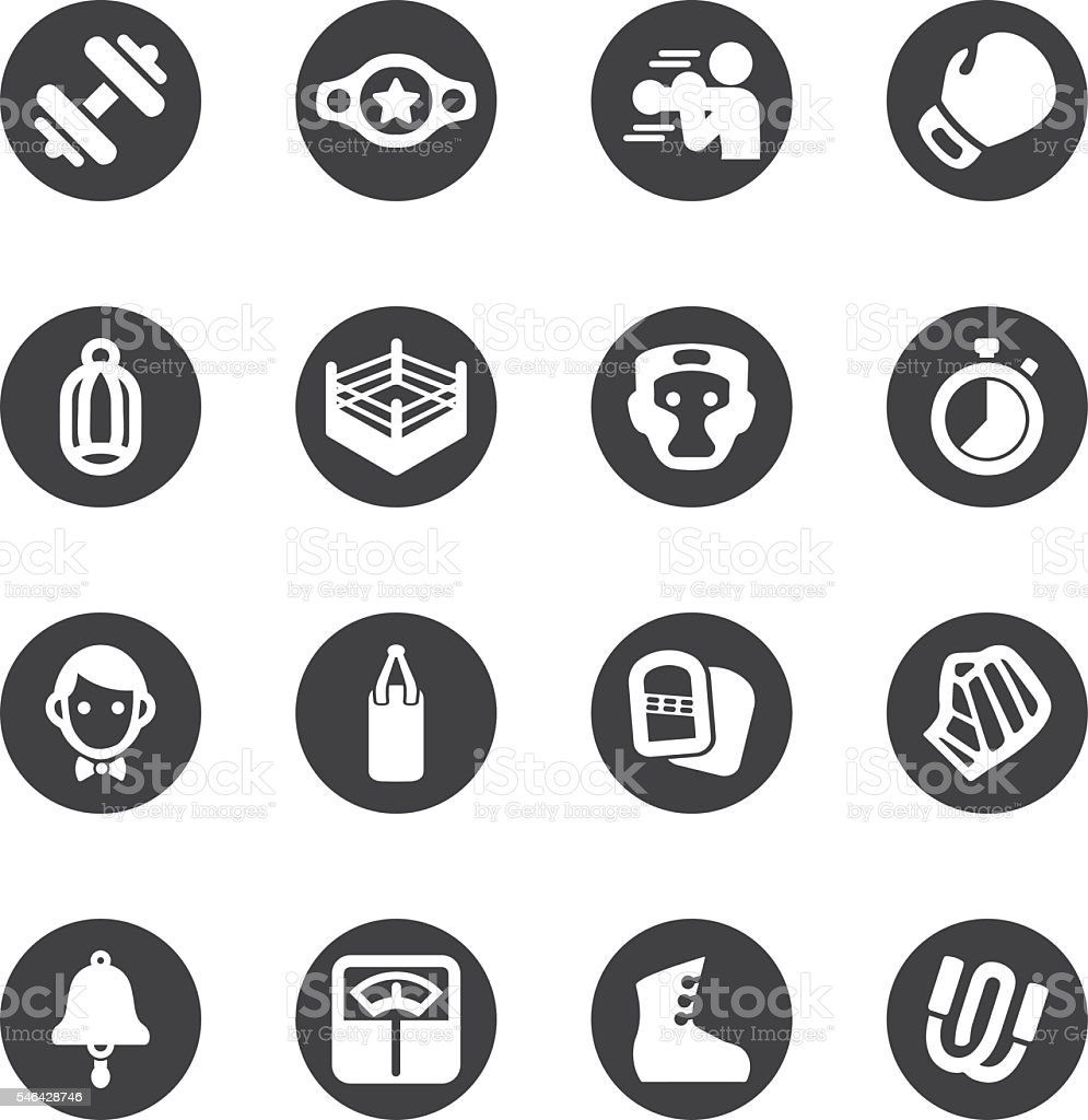 Boxing Circle Silhouette icons | EPS10 vector art illustration