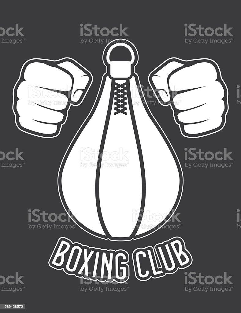 Boxing club emblem - fists and punching bag vector art illustration
