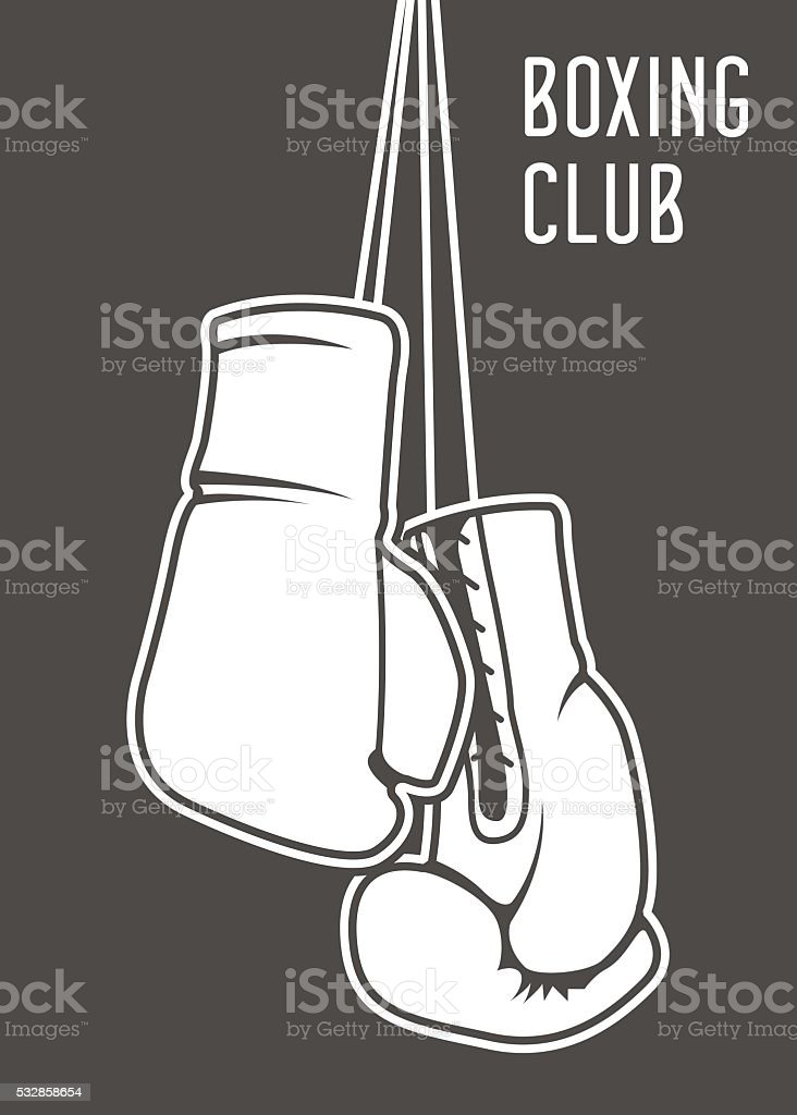 Boxing club poster with boxing gloves and banner vector art illustration