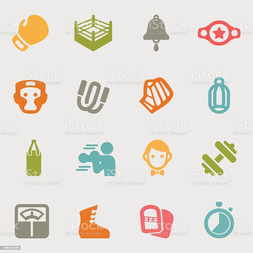 Boxing color variation icons | EPS10 vector art illustration