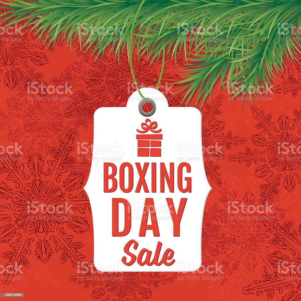 Boxing Day Holiday Sale Tags Hanging For An Evergreen Bough vector art illustration
