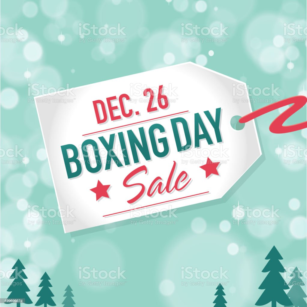 Boxing Day Sale advertisement with label and bokeh background vector art illustration