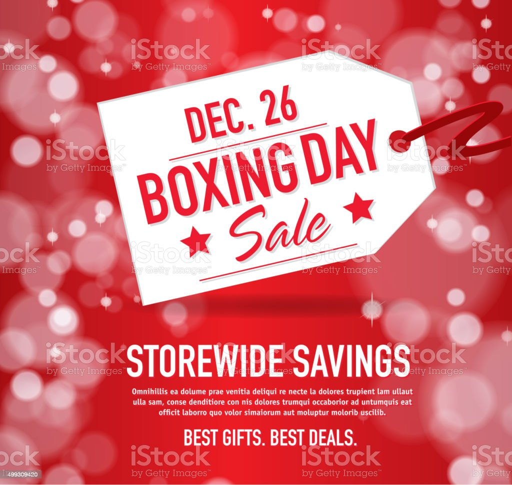 Boxing Day Sale advertisement with red tag and sample text vector art illustration